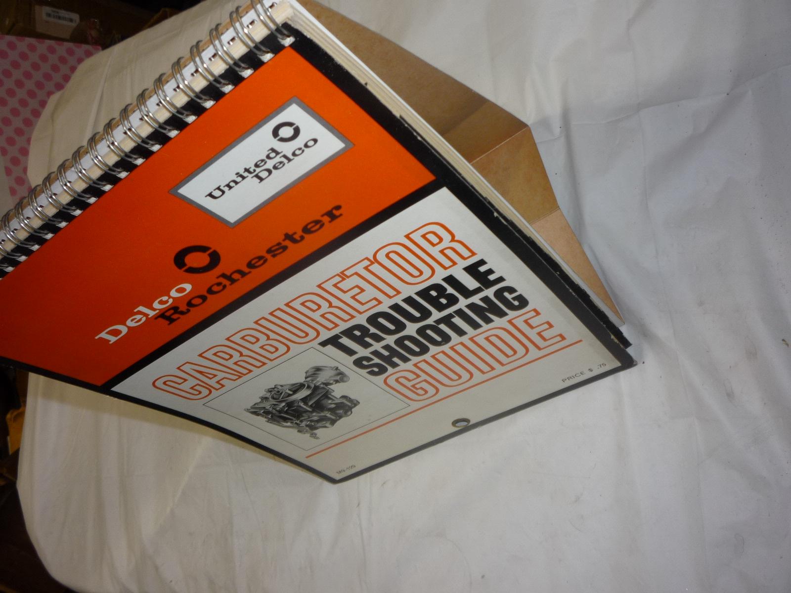 vintage 60s Delco carburetor troubleshooting guide standup display