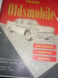 1938-58 Oldsmobile Chassis parts book orig gm print (a 58 olds chassis)